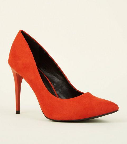 7a55fdea3068 ... Orange Suedette Pointed Court Shoes ...