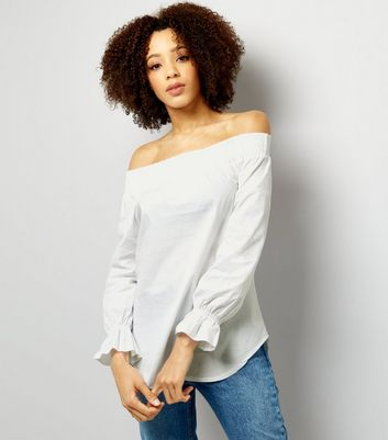 Loving This White Cuffed Bardot Neck Top New Look