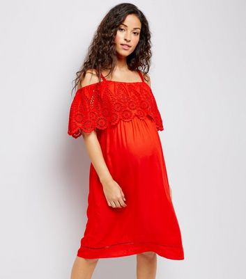 Maternity Red Broderie Cold Shoulder Dress New Look