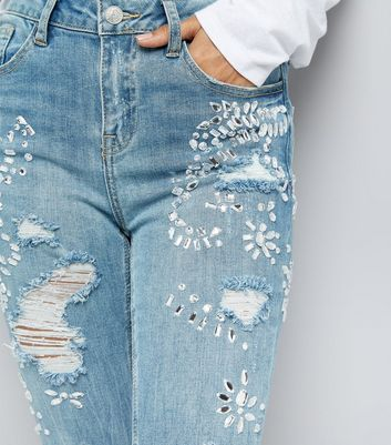 Petite Blue Embellished Straight Leg Jeans New Look