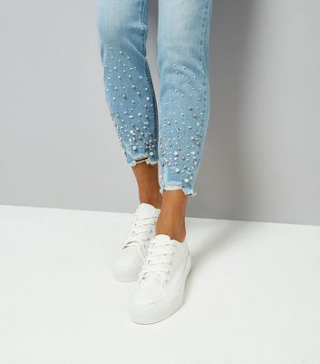 Petite Pale Blue Embellished Frayed Hem Skinny Jeans New Look