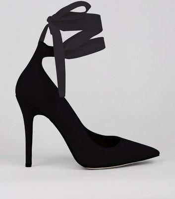 Black Suedette Lace Up Court Shoes New Look