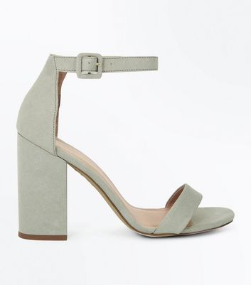 Mint Green Ankle Strap Block Heels New Look