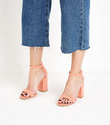 Coral Ankle Strap Block Heels New Look