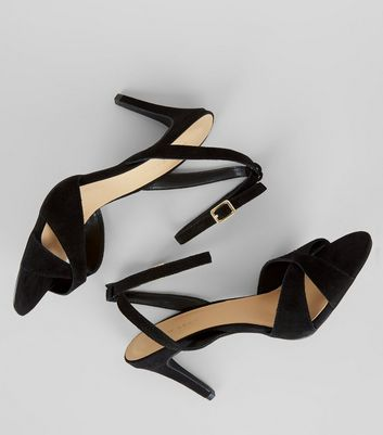 Black Suede Cross Strap Heeled Sandals New Look