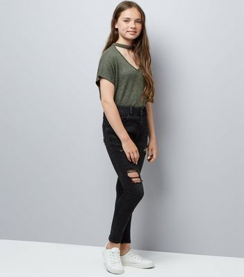 Teens Black Ripped Skinny Jeans New Look