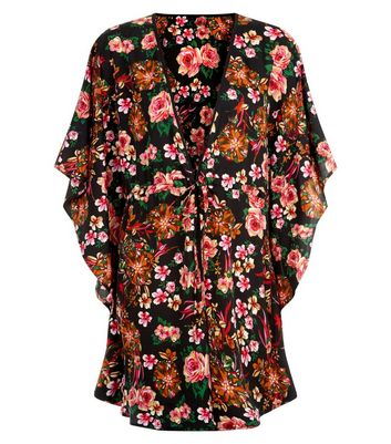 Mela Black Floral Tie Front Kimono