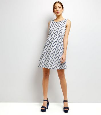 Mela White Zigzag Print Lace Dress New Look