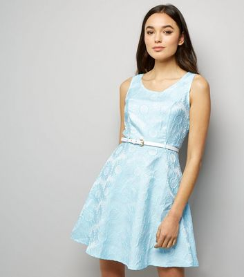 Mela Pale Blue Daisy Embossed Dress New Look