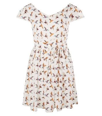 Mela White Bird Print Dress New Look