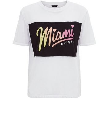 Teens White Mesh Miami Nights Applique T-Shirt New Look