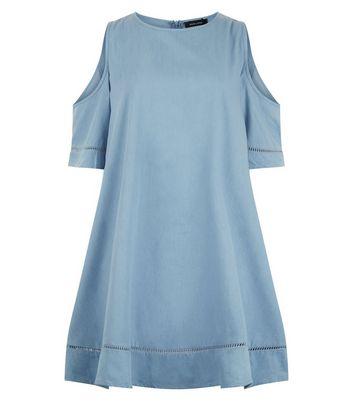Blue Cold Shoulder Crochet Trim Dress New Look