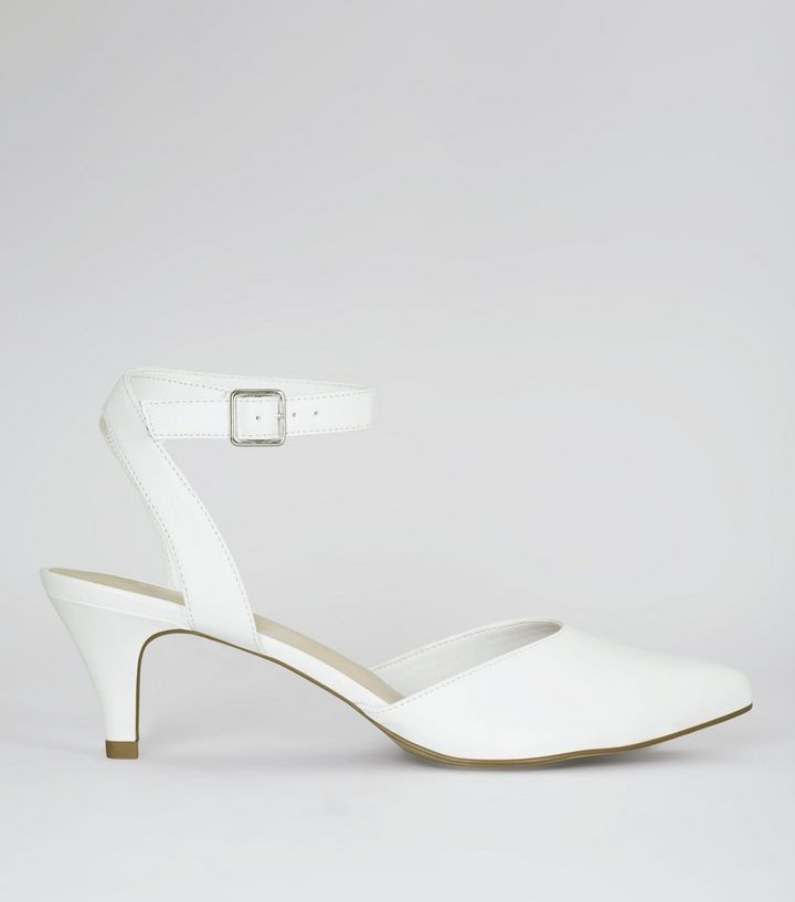 2019 discount sale half off recognized brands Wide Fit White Comfort Pointed Kitten Heels Add to Saved Items Remove from  Saved Items