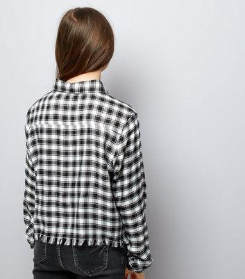 Teens Black Check Fray Hem Shirt New Look
