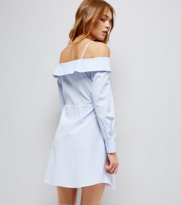 Blue Stripe Cold Shoulder Shirt Dress New Look