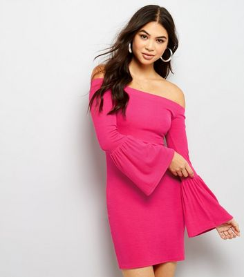 Bright Pink Bardot Neck Flared Sleeve Bodycon Dress New Look