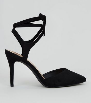 Black Comfort Suedette Lace Up Heels New Look