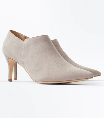 Grey Suedette Pointed Stiletto Heel Shoe Boots New Look