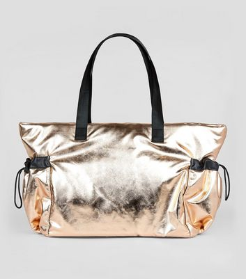 Rose Gold Drawstring Oversized Tote Bag New Look