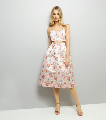 Pink Floral Jacquard Midi Skirt New Look