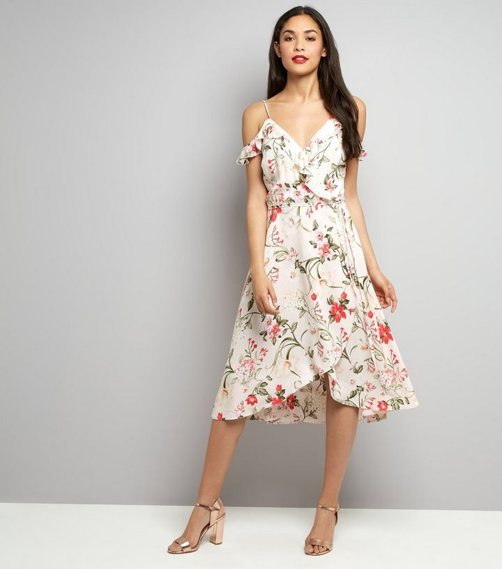 56a0b1201c7e0 ... Pink Floral Print Cold Shoulder Midi Dress. ×. ×. ×. Shop the look