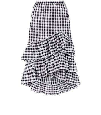 Black Gingham Frill Trim Midi Skirt New Look