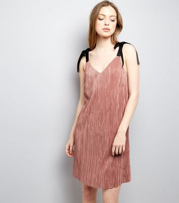 Shell Pink Tie Strap Pleated Slip Dress New Look