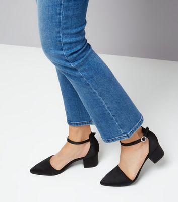 Wide Fit Black Satin Gem Buckle Heels New Look
