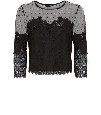 Black Spot Mesh Lace Panel Top New Look