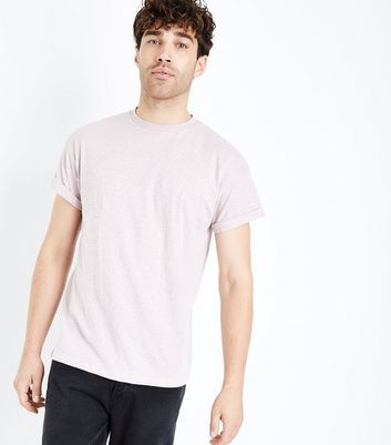 Pink Marl Rolled Sleeve T-Shirt New Look