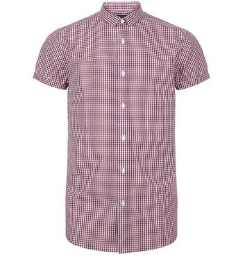 Red Gingham Short Sleeve Shirt New Look