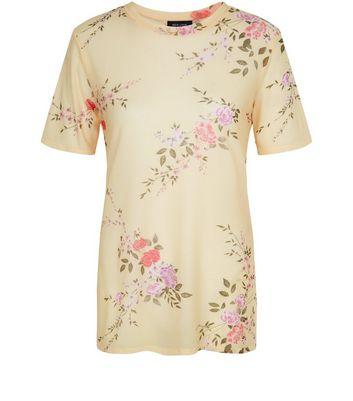 Yellow Mesh Floral Print Boyfriend T-Shirt New Look