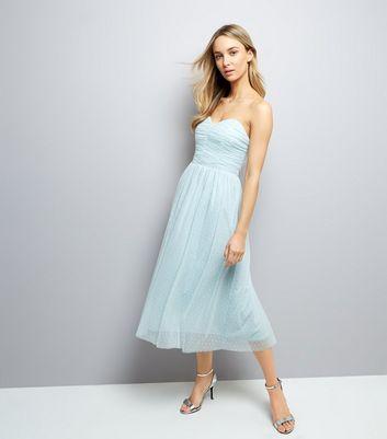 Pale Blue Premium Mesh Bandeau Dress New Look