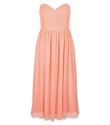 Coral Premium Mesh Bandeau Dress New Look