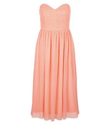Coral Premium Mesh Bandeau Dress New Look