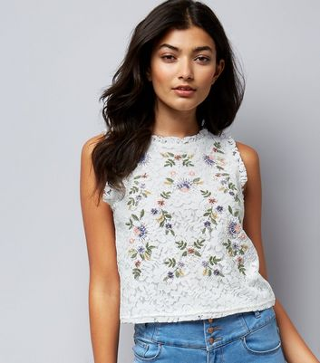 Petite White Floral Embroidered Lace Sleeveless Top New Look