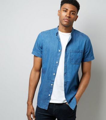 Blue Denim Short Sleeve Shirt New Look