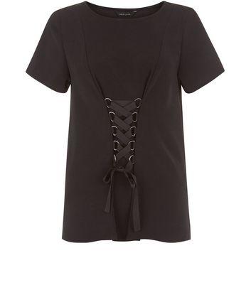 Black Corset Front T-Shirt New Look