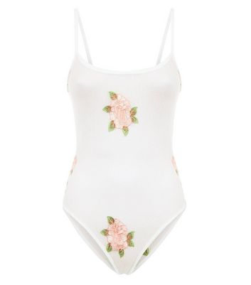 White Spot Mesh Floral Embroidered Bodysuit New Look