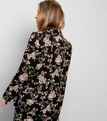 Black Floral Print Textured Jacquard Blazer New Look