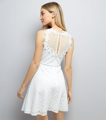 White Lace Embellished Sleeveless Skater Dress New Look