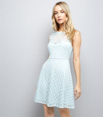 Pale Blue Lace Embellished Sleeveless Skater Dress New Look