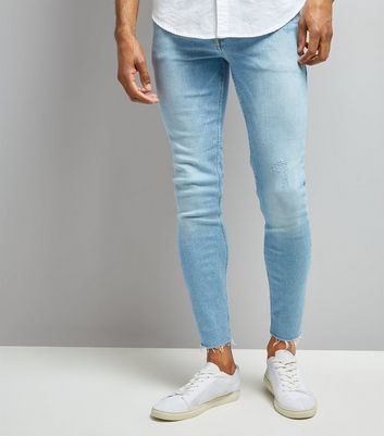 Blue Raw Hem Super Skinny Jeans New Look