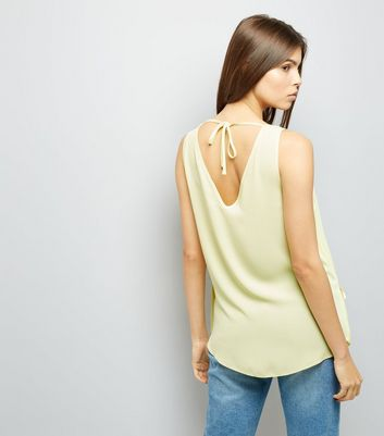 Yellow Ring Strap Asymmetric Wrap Front Top New Look