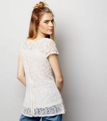 Blue Vanilla White Lace 2 in 1 Peplum Hem Top New Look