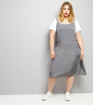 Curves Grey Sateen Floral Jacquard Slip Dress New Look