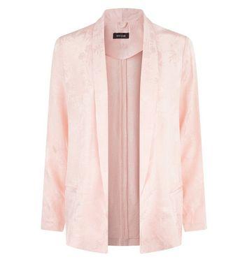 Pink Satin Floral Jacquard Blazer New Look