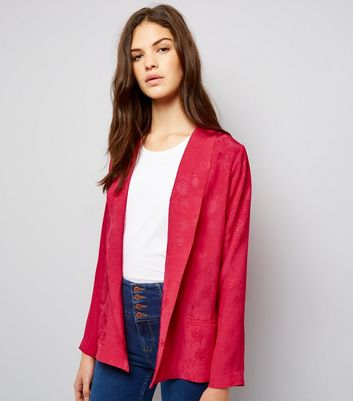 Bright Pink Jacquard Blazer New Look