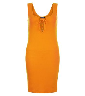 Bright Orange Ribbed Tie Front Bodycon Dress New Look