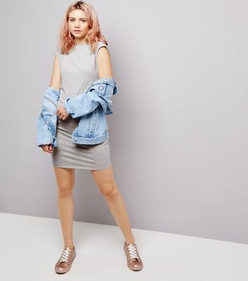 Pale Grey Twist Back Tube Dress New Look